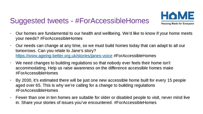Suggested tweets #ForAccessibleHomes