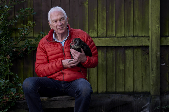Older man with chicken